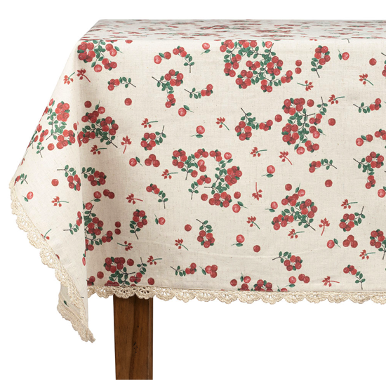 Nappe rectangle groseille naturel et rouge 250x150 cm