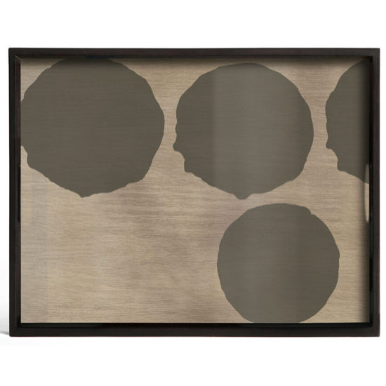 Plateau Silver dots glass tray rectangulaire S
