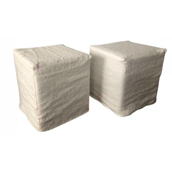 Pouf DOMINO  40 cm dehoussable New lin naturel