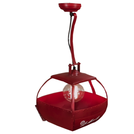 Suspension télécabinne metal rouge 33x33x40