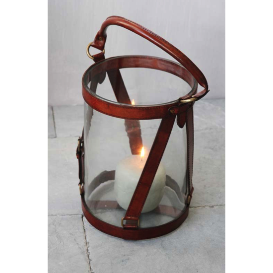 Photophore 30 cm cuir marron clair