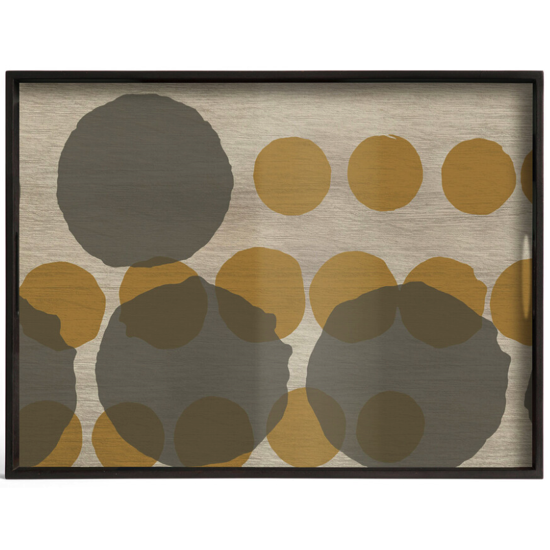 Plateau layered dots glass tray rectangulaire L